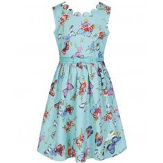 'Mini Daria' Turquoise Butterfly Print Party Dress