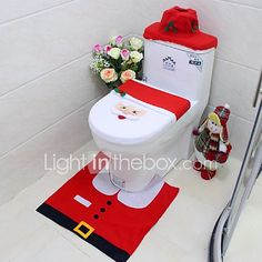 Christmas Decorations for Home 2016 Santa Claus Toilet Seat Cover and Rug Bathroom Set Papai Noel Navidad Christmas Rugs, Decoration Christmas, Party Decoration, Cheap Christmas, Christmas Gift Tags, Christmas Snowman, Xmas Decorations, Christmas Crafts, Christmas Ornaments