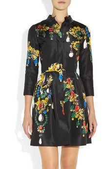 Oscar de la RentaPrinted silk-faille dress FW2012