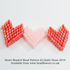 4178b9e6549 Heart beaded bead pattern, Katie Dean, Beadflowers Work in brick stitch to  make a