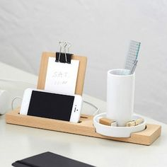 """W+W Stationary $50.00  W+W Stationary Series is a minimal design created by Oliver Franz for Ideaco. The """"W+W"""" stands for white ceramic and wood – two elements that complement each other with flawless beauty."""