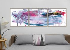 Set of 3 Prints Abstract Art Print Set 3 Abstract Prints Pink Purple, Blush Pink, Navy Blue, Pink Wall Art, Wall Art Prints, Blue Color Schemes, Using Acrylic Paint, Pink Walls, Blue Art