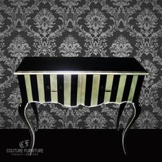 Le Mime Cabriole Commode (SGD$580) | We love the delicate detailing on this one. The magnificent stripe pattern, lovely brass handles, dovetailed drawers, long sleek cabriole legs finish this piece off beautifully. Hugely Labour intensive with no reflection on price! | All Couture Furniture designs are fully customisable in a range of sizes, colours, graphic prints and fabric.