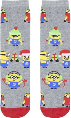 Womens light grey christmas minion ankle socks  marl marl from Topshop - £3.50 at ClothingByColour.com