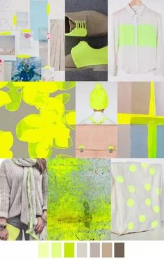 Acid yellow mood board, color palette