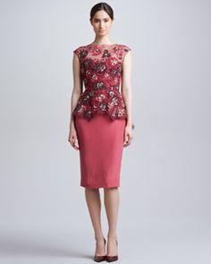 B26G0 Lela Rose Embroidered Peplum Dress