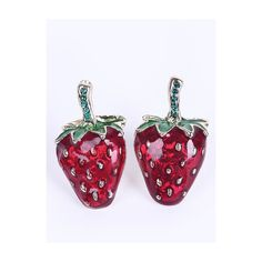 Red Glaze Strawberries Stud Earrings ($7.07) ❤ liked on Polyvore featuring jewelry, earrings, red earrings, red stud earrings, red jewelry and stud earrings