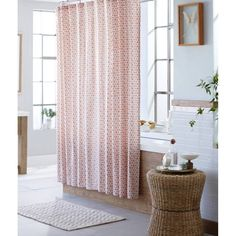 Threshold Shapes Shower Curtain Cotton Coral Pinwheels