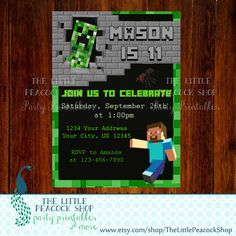 SALE Minecraft Steve and Creeper digital and printable birthday invitation