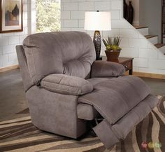 Noble Slate Gray Lay Flat Cuddler Recliner Oversized Reclining Chair