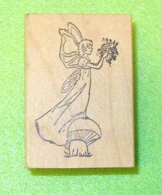 Elf elven fairy rubber stamp Fantasy lady mushroom grtass flowers wings in dress #StampInk #Fairy