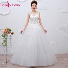 Skønhed-Emily Plus Størrelse Hvide Billige Bryllup Kjoler 2017 Ball Kjoler  Perler Lace Up Bryllupsfest Brude Kjoler Vestido de Noiva 4b95249d3d1d