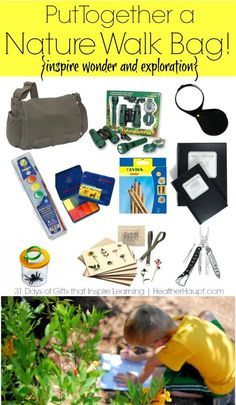 Putting together a Nature Walk bag makes for a creative, fun, and engaging gift idea! Outdoor Education, Outdoor Learning, Early Education, Outdoor Play, Outdoor Life, Nature Hunt, Nature Study, Outdoor School, Outdoor Classroom