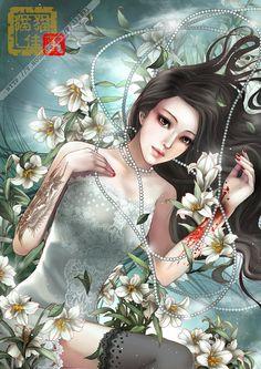 Asian fantasy art - artist Zhang Xiao Bai、月妖私藏、东方美