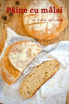Cum se face o pâine cu mălai și făină albă cu miez pufos și elastic și coajă crocantă? Pâine cu mălai fără drojdie, dospită cu maia naturală. Camembert Cheese, Dairy, Gluten, Recipes, Food, Home, Essen, Meals, Eten