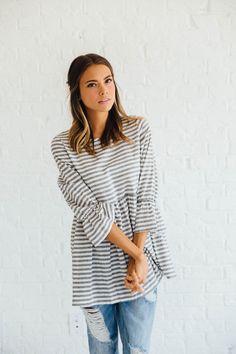 Striped Bell Peplum Top | CLAD & CLOTH – cladandcloth