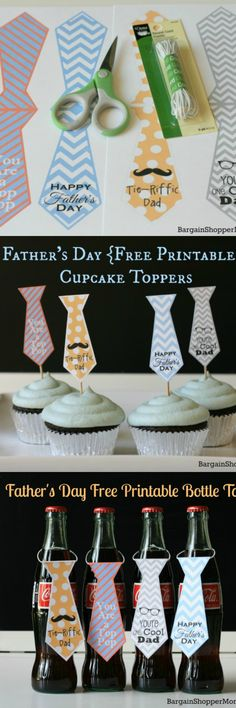 Free Father's day printable ties for bottle tags and cupcake toppers. Easy DIY Crafts & Gift idea