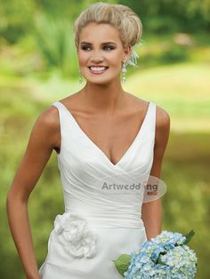 $119.99  V Neck #wedding #dress take off the flower and we're good