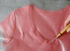 tracing t-shirt onto wax paper