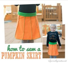 Sew a pumpkin skirt for a little girl with this tutorial - makes an adorable outfit to wear during October or for Halloween! Sewing Men, Love Sewing, Sewing Clothes, Kid Clothing, Little Pumpkin, A Pumpkin, T Shirt Remake, Diy Sewing Projects, Sewing Ideas