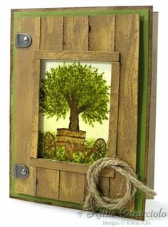 Barn Window - Stamps: Kittie Kits Farm Scene and Outdoor Master Paper: Old Olive, Kraft, Watercolor Ink: Brilliance, Vintage Photo, Peeled Paint, Barely Banana Accessoires: Cardboard, Crackle Paint, Paper Piercer, Sponges, Brushes, Hardware, Twine