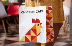 Brandon Archibald - Chicken Cafe - World Brand Design Society / Client: New cafe offering fast-food mostly done from chicken and eggs.Challenge: The design of logo, corporate identity, printed goods, branded elements and also the interior branding. Chicken Bar, Chicken Store, Chicken Games, Chicken Logo, Fried Chicken, Chicken Restaurant Logos, Restaurant Branding, Restaurant Design, Cafe Branding