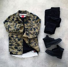 Shop our feed, hit link in bio. 👍 or 👎: by 👕: 👖: 👟: for on-feet photos for outfit lay down photos Tomboy Fashion, Fashion Mode, Urban Fashion, Mens Fashion, High Fashion, Swag Outfits Men, Dope Outfits, Stylish Outfits, Hype Clothing