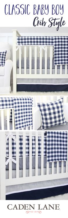 Go classic in your baby boy's nursery with this classic navy gingham crib bedding - dress it up in a rustic nursery or take it vintage with some planes, trains, and automobiles.