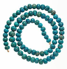 Egyptian Melon Bead Necklace ca 1550 - 1425 B.C. - 29 inches and beads 1 - 1.3 cm diameter