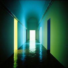SARC 323 Colour, Pattern, Light: Dan Flavin, Varese Corridor in the Panza Collection, Italy. Dan Flavin, Lights Artist, Light Works, Light Installation, Conceptual Art, Light Art, Oeuvre D'art, Lighting Design, Interior Lighting