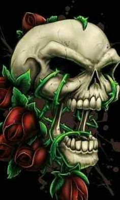 Skulls and Roses Pictures Art Mur, Totenkopf Tattoos, Skull Pictures, Skull Artwork, Skull Painting, Biker Quotes, Neue Tattoos, Skull Wallpaper, Warrior Quotes