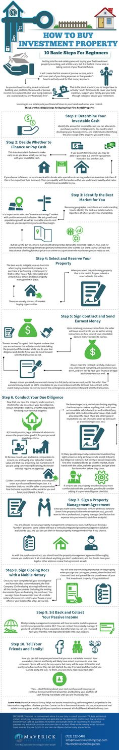 Getting into the real estate game and buying your first investment property is exciting, and a little scary, but it is the first crucial step in taking control of your financial future. It will create the first stream of passive income, which will cover part of your living expenses so that you don't have to actively work for that money anymore. This infographic from Maverick Investor Group lays out 10 basic steps for beginners in investment property.