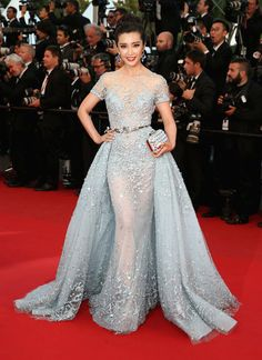 Li BingBing stunning in an ice blue beaded Zuhair Murad gown with train #Cannes2015