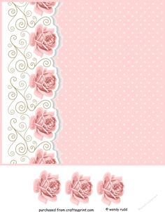 Blank card front / topper - Pink Roses, Swirls & Polka Dots - CraftsuPrint