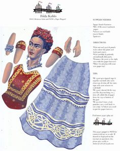DIY Paper Puppet Doll Printable PDF Frida by FamousArtistsClub, $3.50