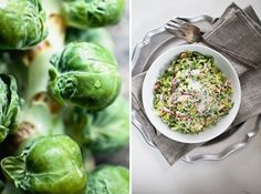 Fresh Brussel sprout salad with red onion, pecorino, and citrus vinegarette
