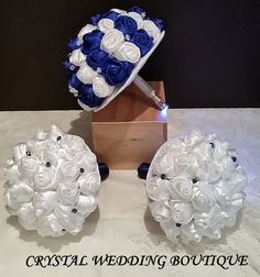 Full set for our Dr Who inspired wedding Royal blue and light ivory for the bride, light ivory for the bridesmaids interspersed with Swarovski crystal clear abs
