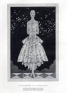 Louiseboulanger 1928 Duchesse de Penaranda, Evening Gown,   Illustrated by Douglas Pollard
