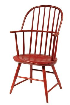 c. 1800 New England Sack Back Windsor Armchair w/ deeply bodged seat, shaped arms, box stretchers...
