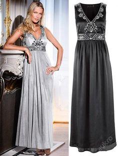 6fc03cbeeb9c Dlouhé černé saténové šaty s kamínky