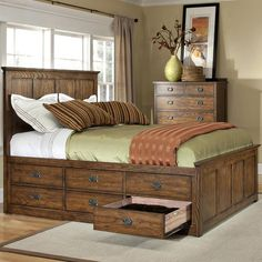 Oak Park Queen Bed with 12 Storage Drawers by Intercon: