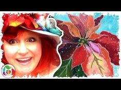 LIVE How to paint | Poinsettias Acrylics | Angelooney - YouTube