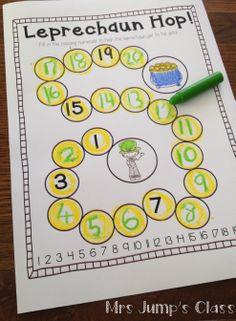 Leprechaun Hop - Number Order - March printables $
