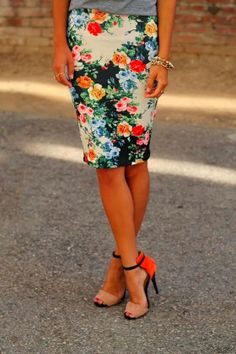 Want want want!!  Floral Skirt with Ankle Strap Pumps