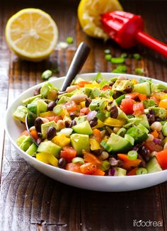 Mexican Bean Salad Recipe -- Healthy vegetable salad with beans, cilantro and cumin.