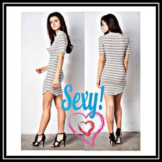 Bodycon Dress (Black&Ivory) Black and Ivory stripes Fitted Bodycon dress. Very cute!💖😊 Material is 96% Rayon & 4% Spandex. True to size. 🚫Price is firm🚫OFFERS NOT ACCEPTED April Spirit Dresses