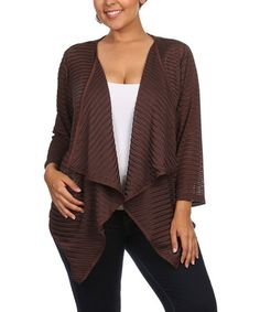 Love this Brown Sheer Ribbed Open Cardigan - Plus on #zulily! #zulilyfinds