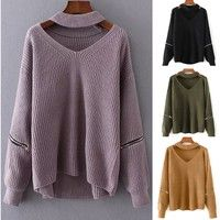 Wish | 2016 Winter Fashion Halter Knitted Warm Sweater Casual Loose Open Zipper Sleeve Cut Out Chunky Choker Sweater