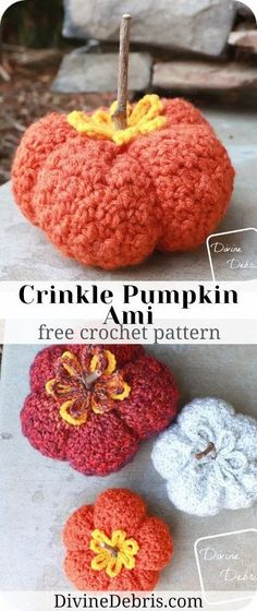 Get ready for the fun and Fall decorations with the Crinkle Pumpkin Amigurumi free crochet pattern by DivineDebris.com