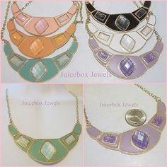 STATEMENT Rhinestone Bib Enamel Trendy Fashion Necklace 17-20 inch Gold Tone | eBay